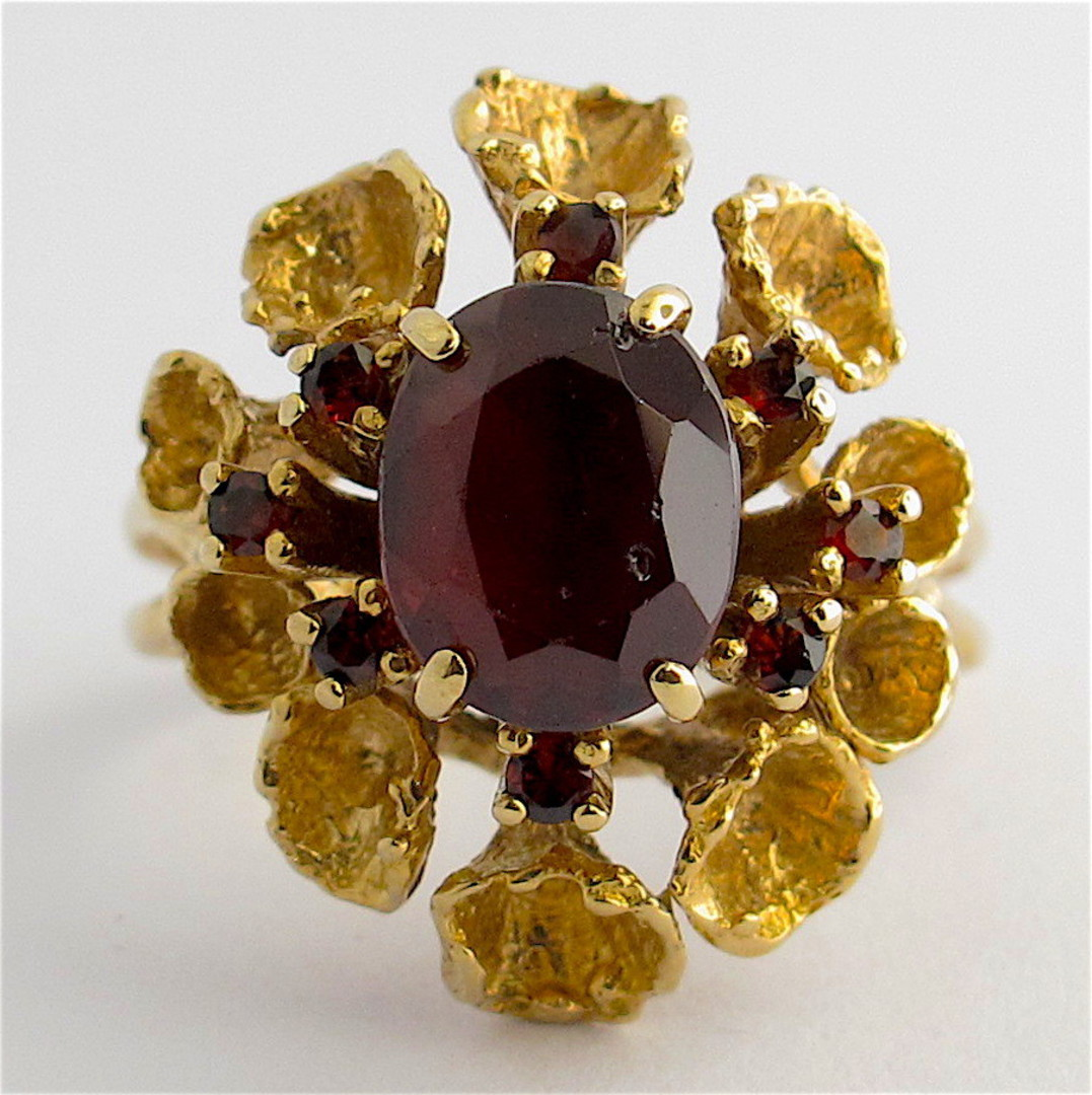 9ct yellow gold unique garnet cluster ring image 0