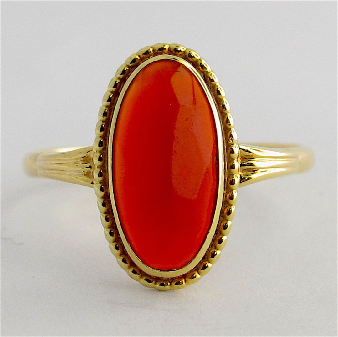 14ct yellow gold carnelian ring image 0