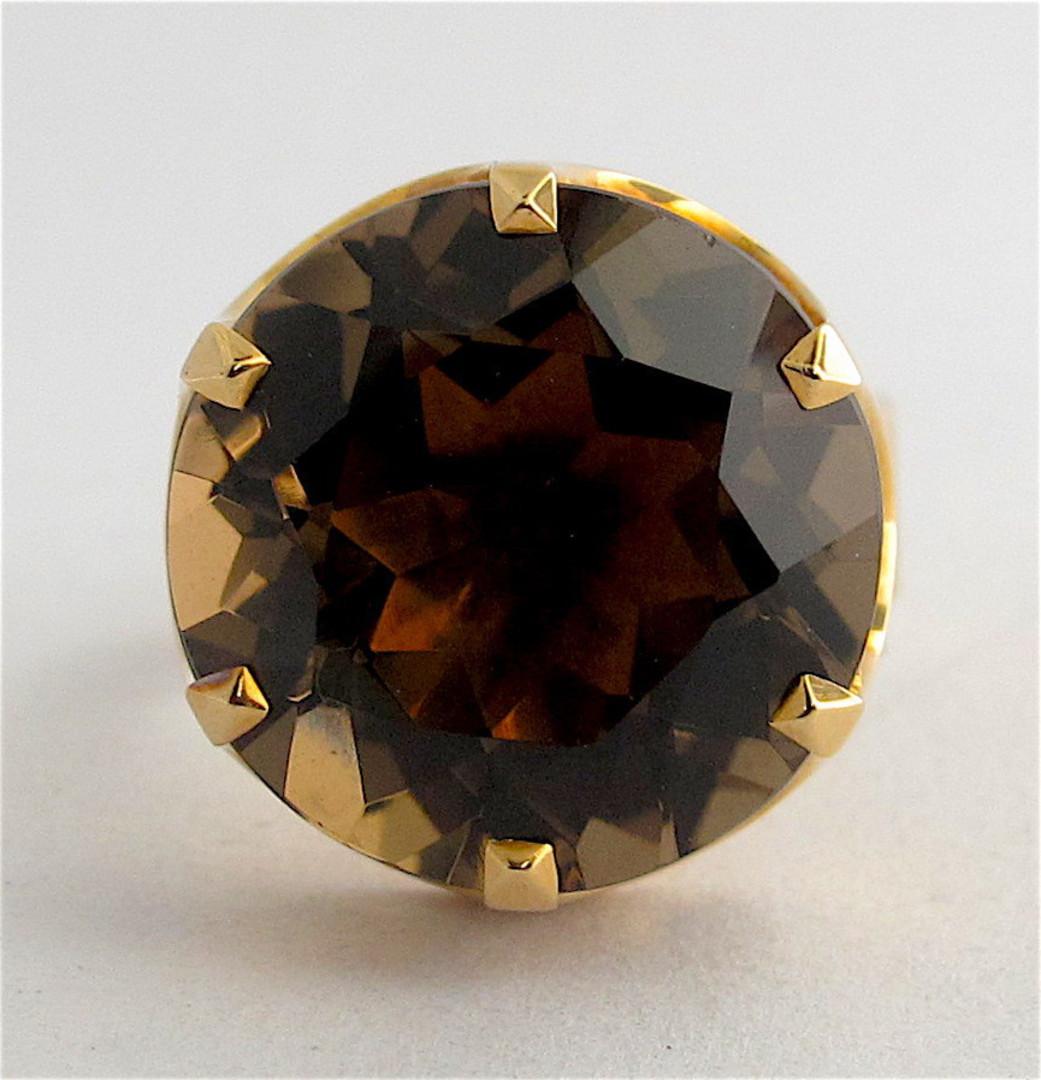 14ct yellow gold smokey quartz ring image 1