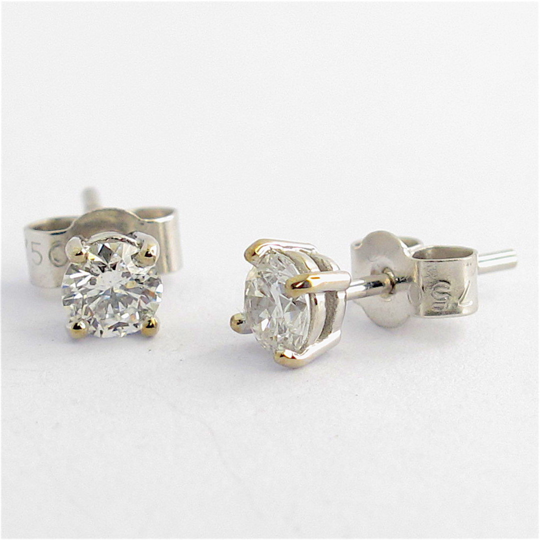 18ct white gold 0.54ct TDW diamond solitaire stud earrings image 0
