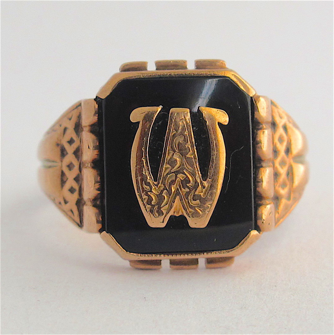 9ct rose gold vintage onyx initial signet ring image 0