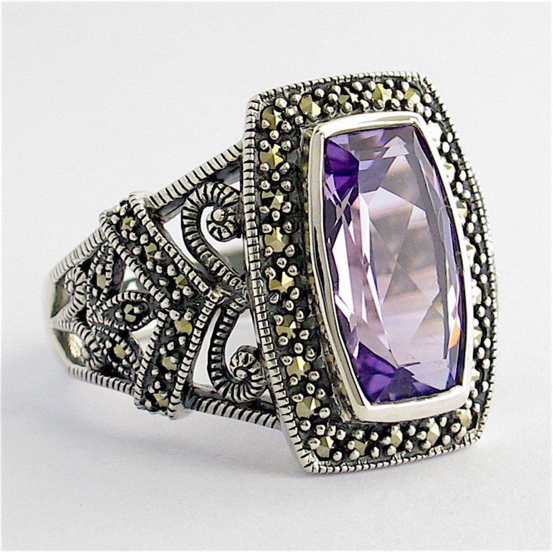 Sterling silver amethyst and marcasite ring image 1