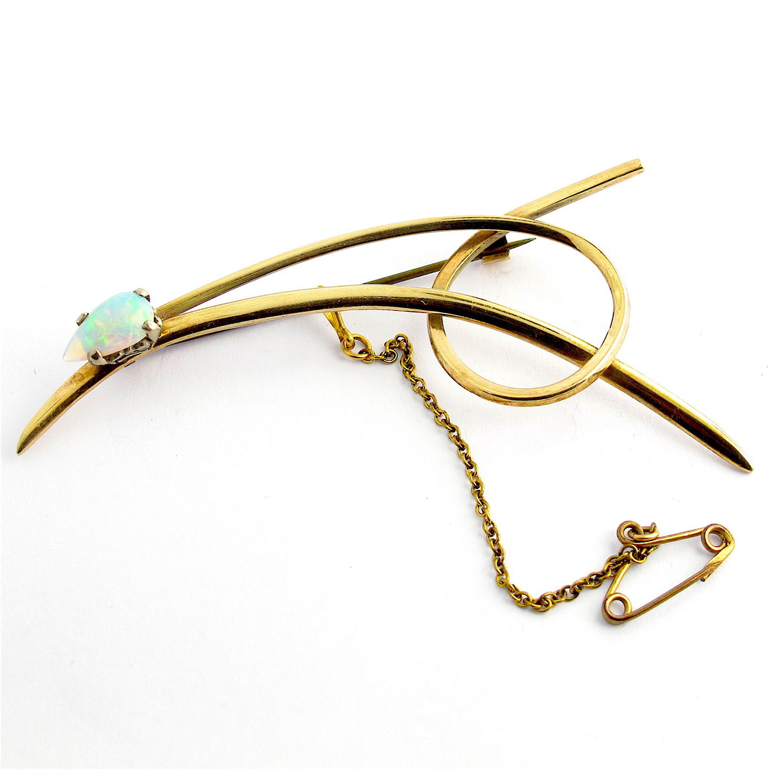 9ct yellow gold and opal brooch image 0