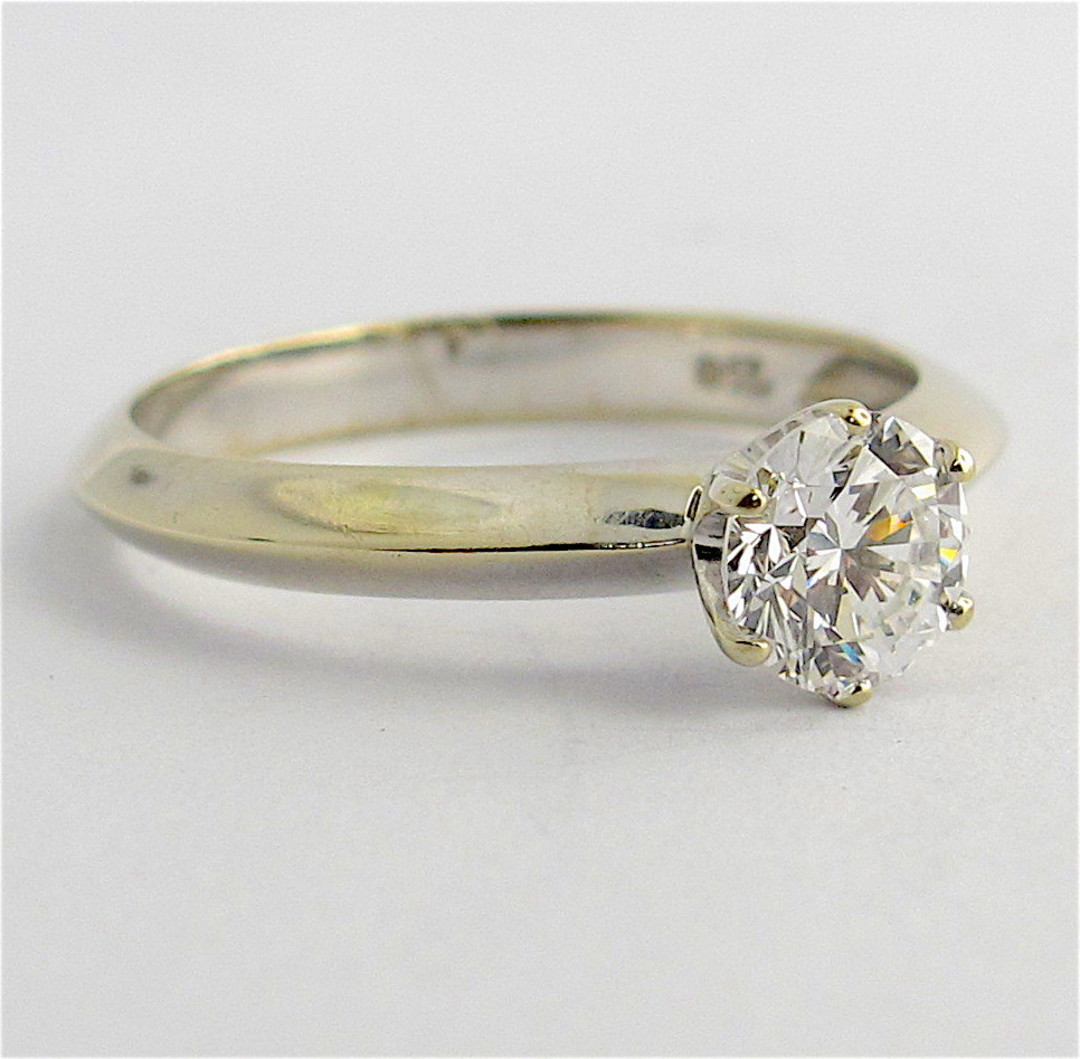 18ct white gold 0.70ct diamond solitaire ring image 1