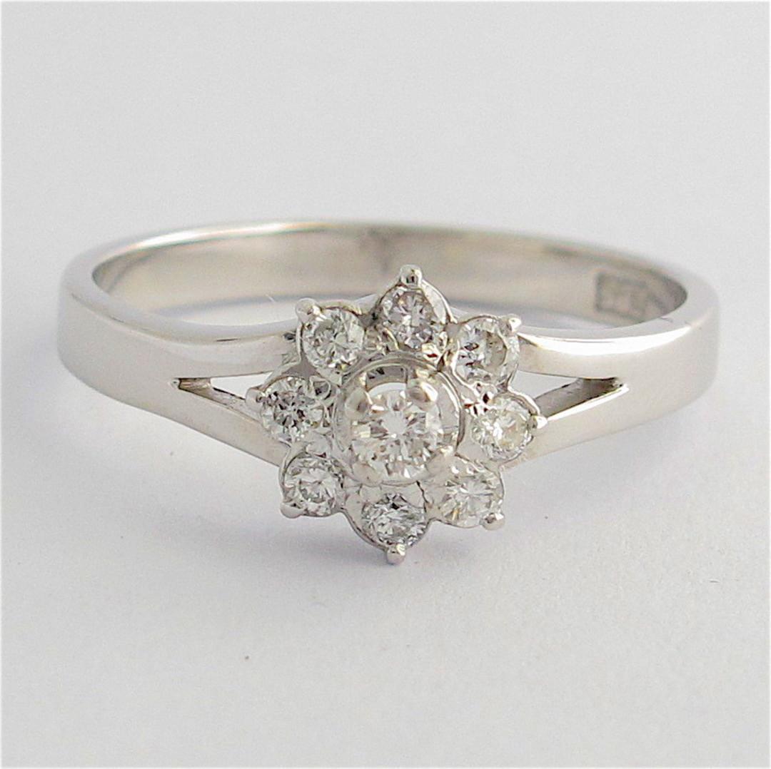 14ct white gold 'flower design' diamond ring image 0