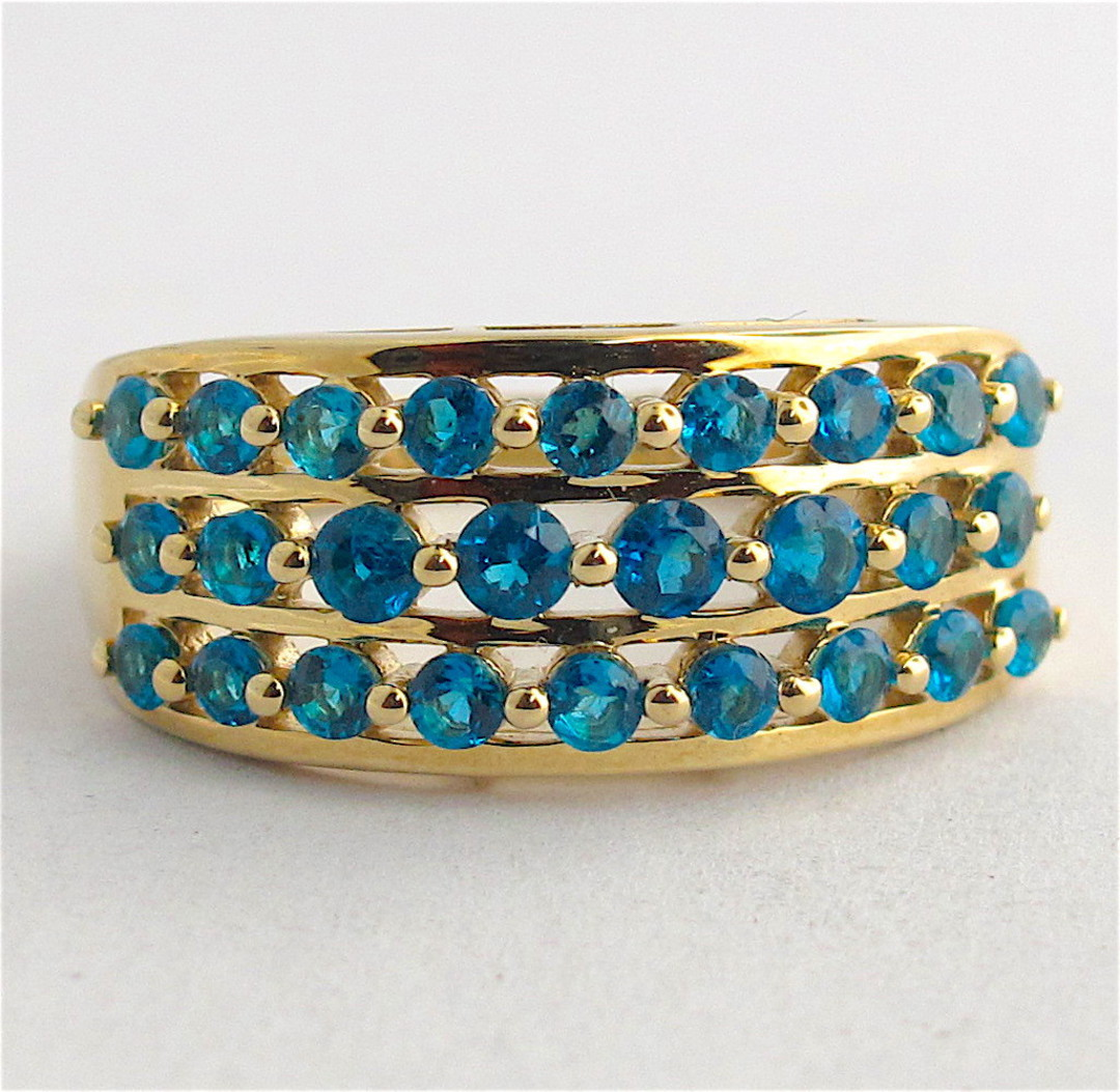 9ct yellow gold 3 row blue topaz dress ring image 0
