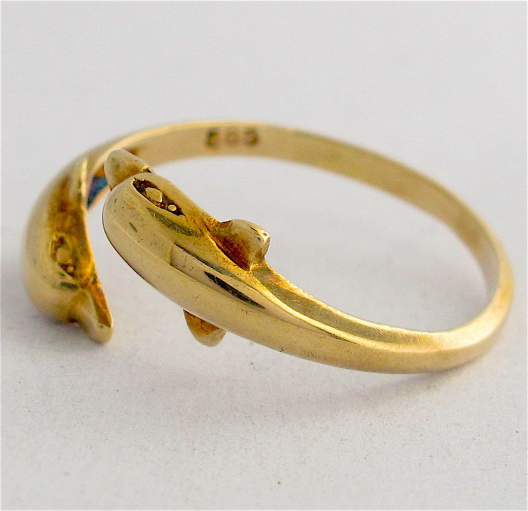 14ct gold twin dolphin ring image 1