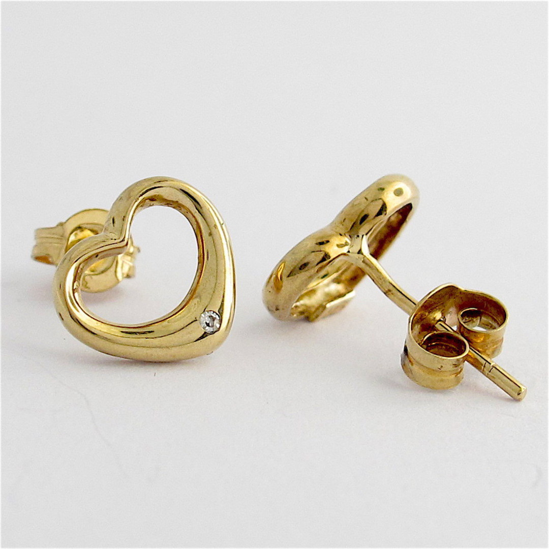 9ct yellow gold heart shape diamond stud earrings image 1