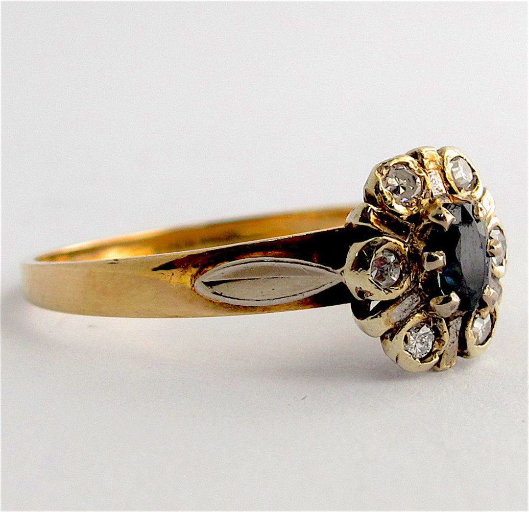 9ct yellow and white gold sapphire and diamond cluster ring image 1