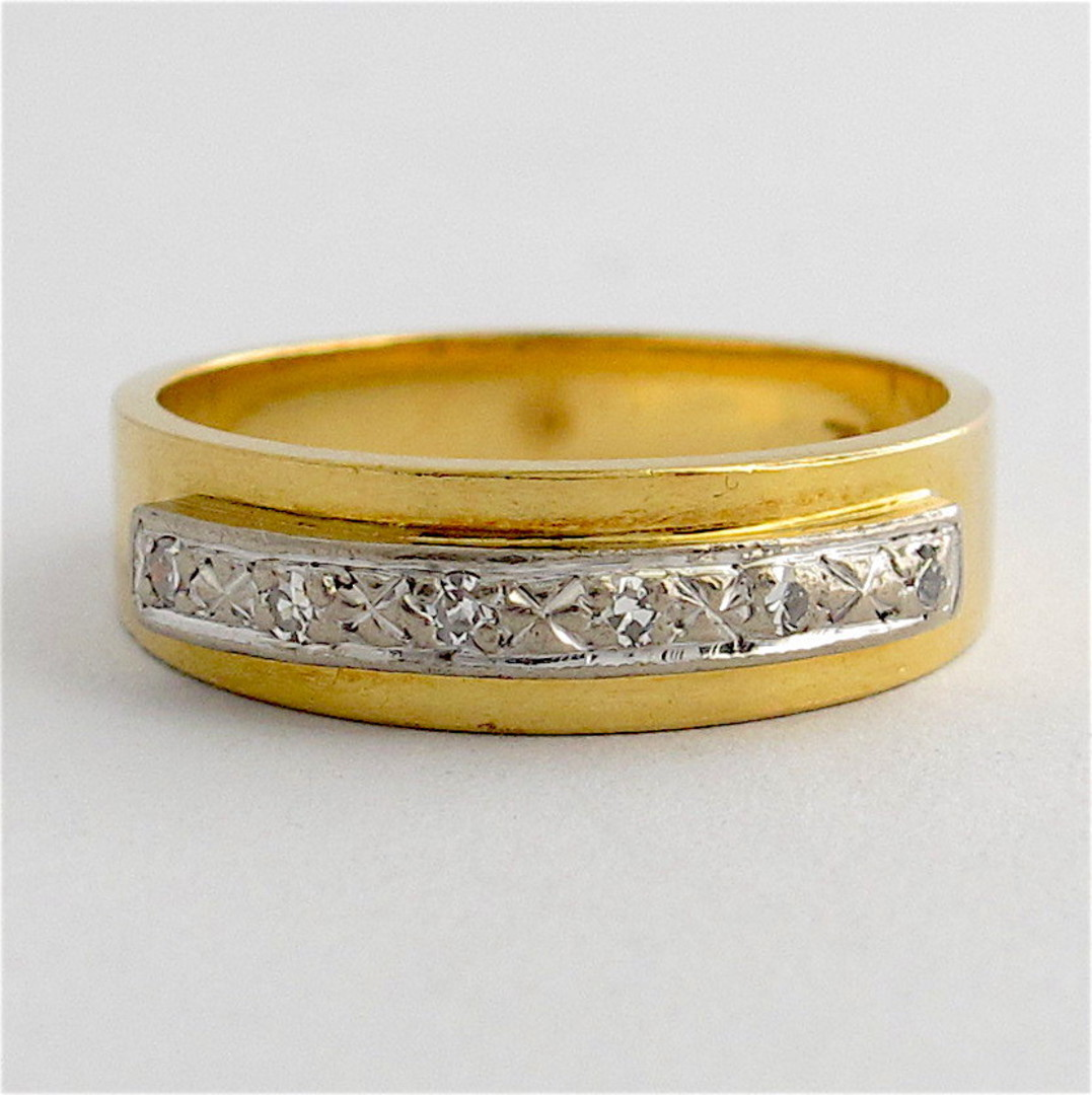 18ct yellow & white gold diamond band image 0