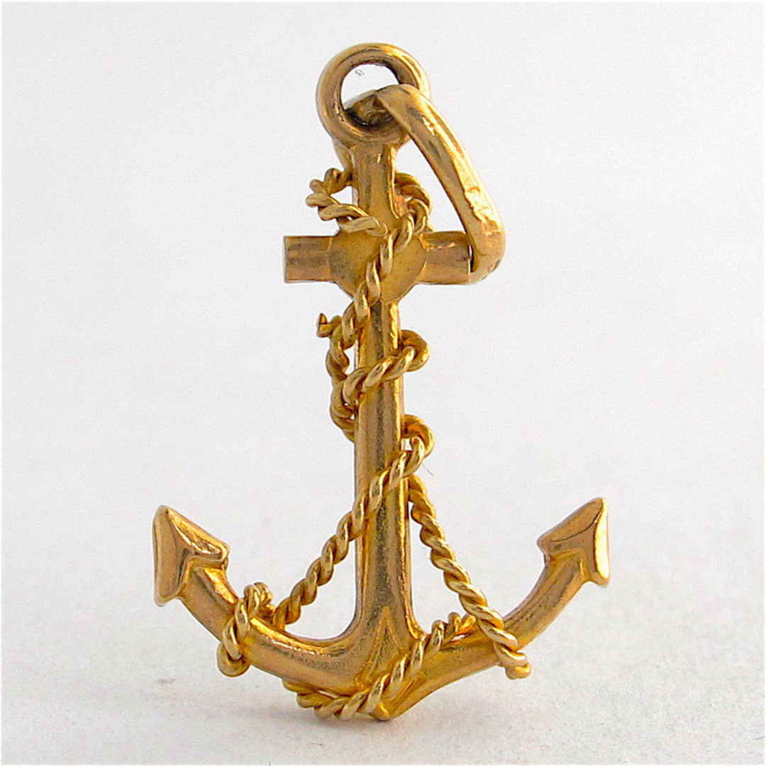 9ct yellow gold anchor charm image 0