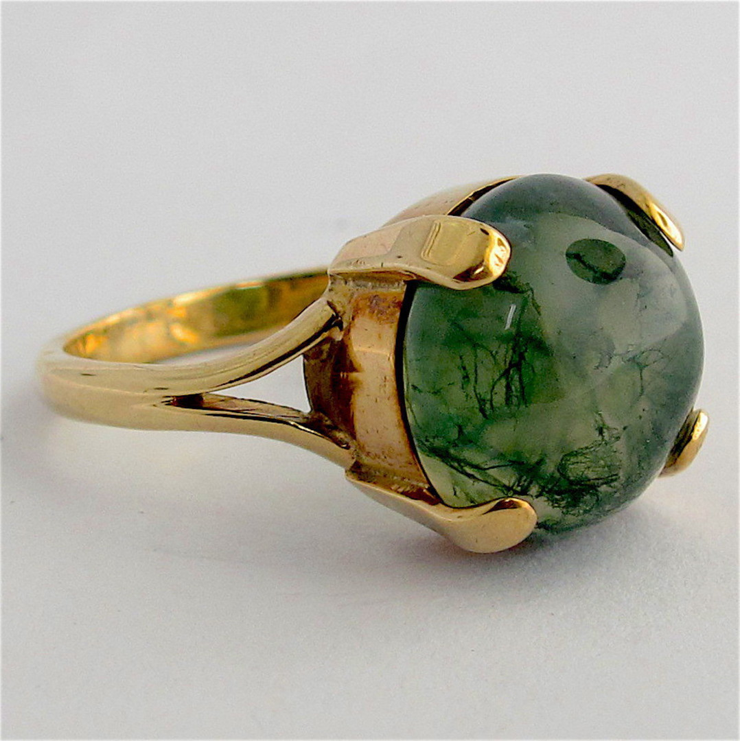 9ct yellow gold moss agate ring image 1