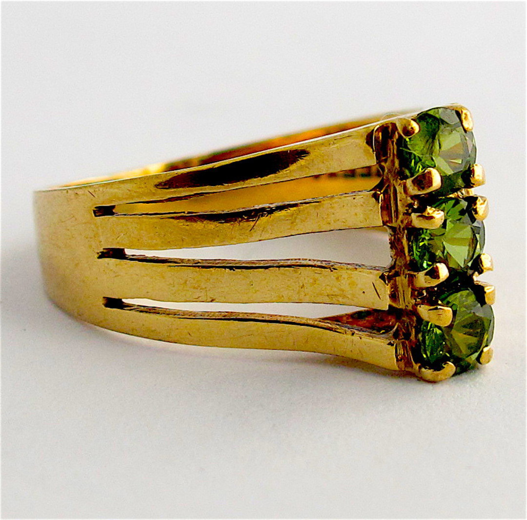 9ct yellow gold peridot stone set dress ring image 1