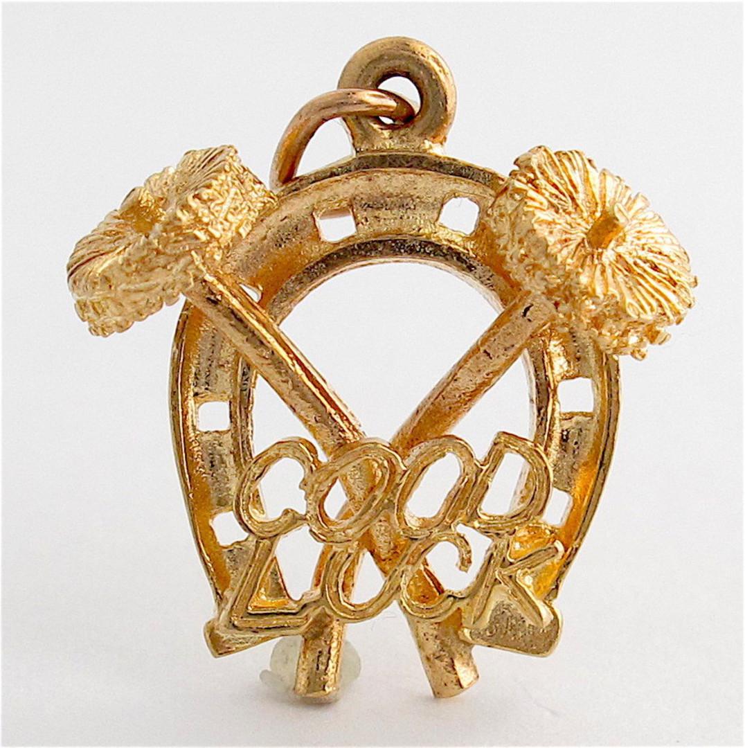 9ct yellow gold Good luck horseshoe charm image 0