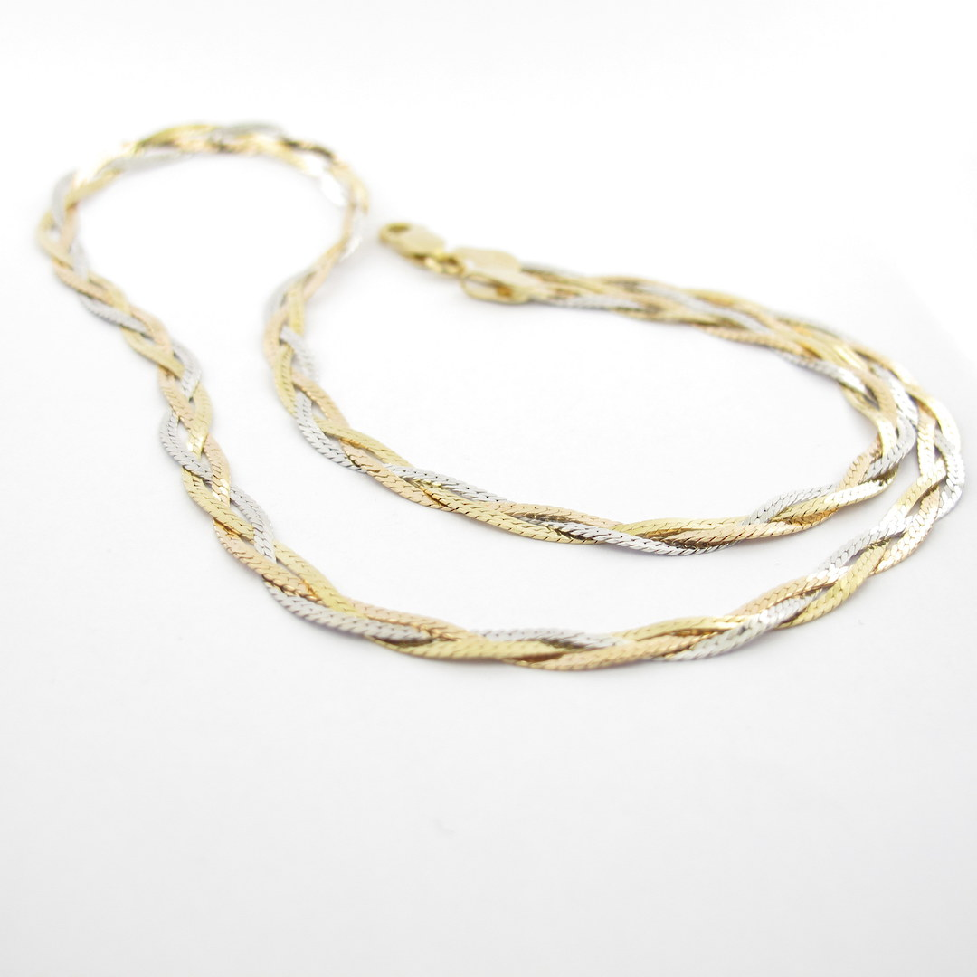 18ct tri-tonal twisted style chain necklace image 0