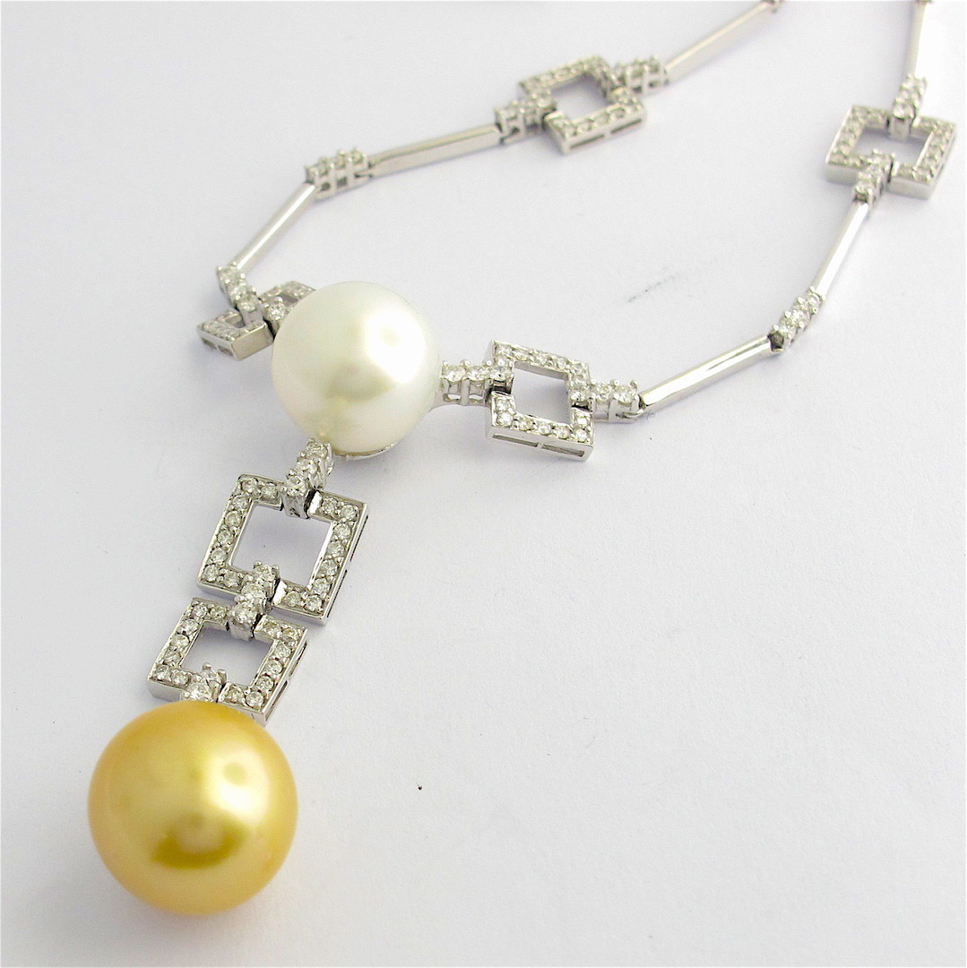 18ct white gold diamond and pearl set necklet image 1