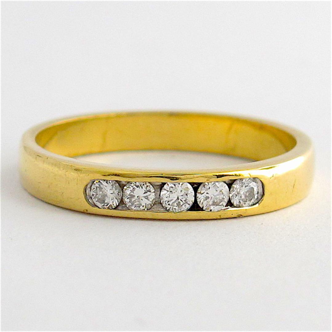 18ct yellow gold channel set diamond band image 0
