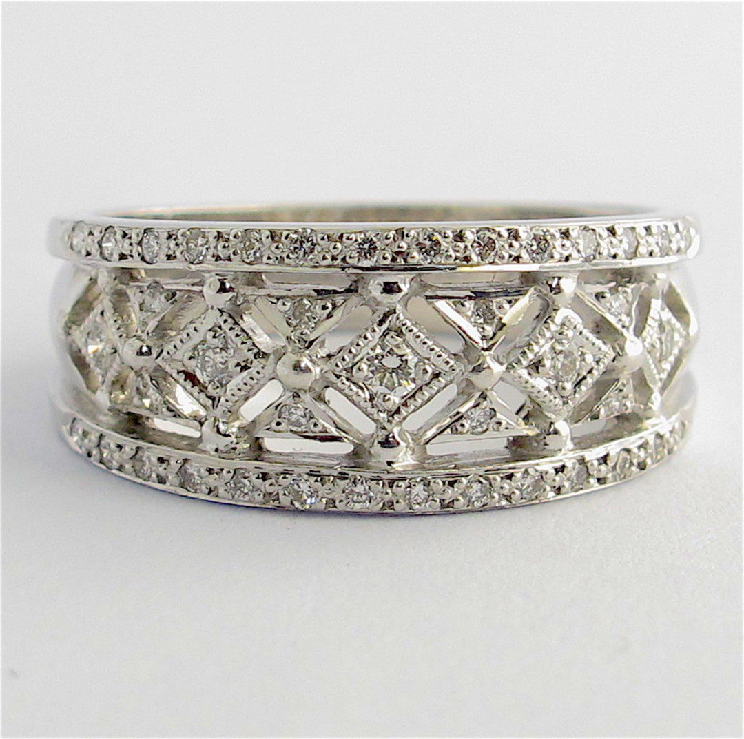 18ct white gold multi diamond band style ring image 0