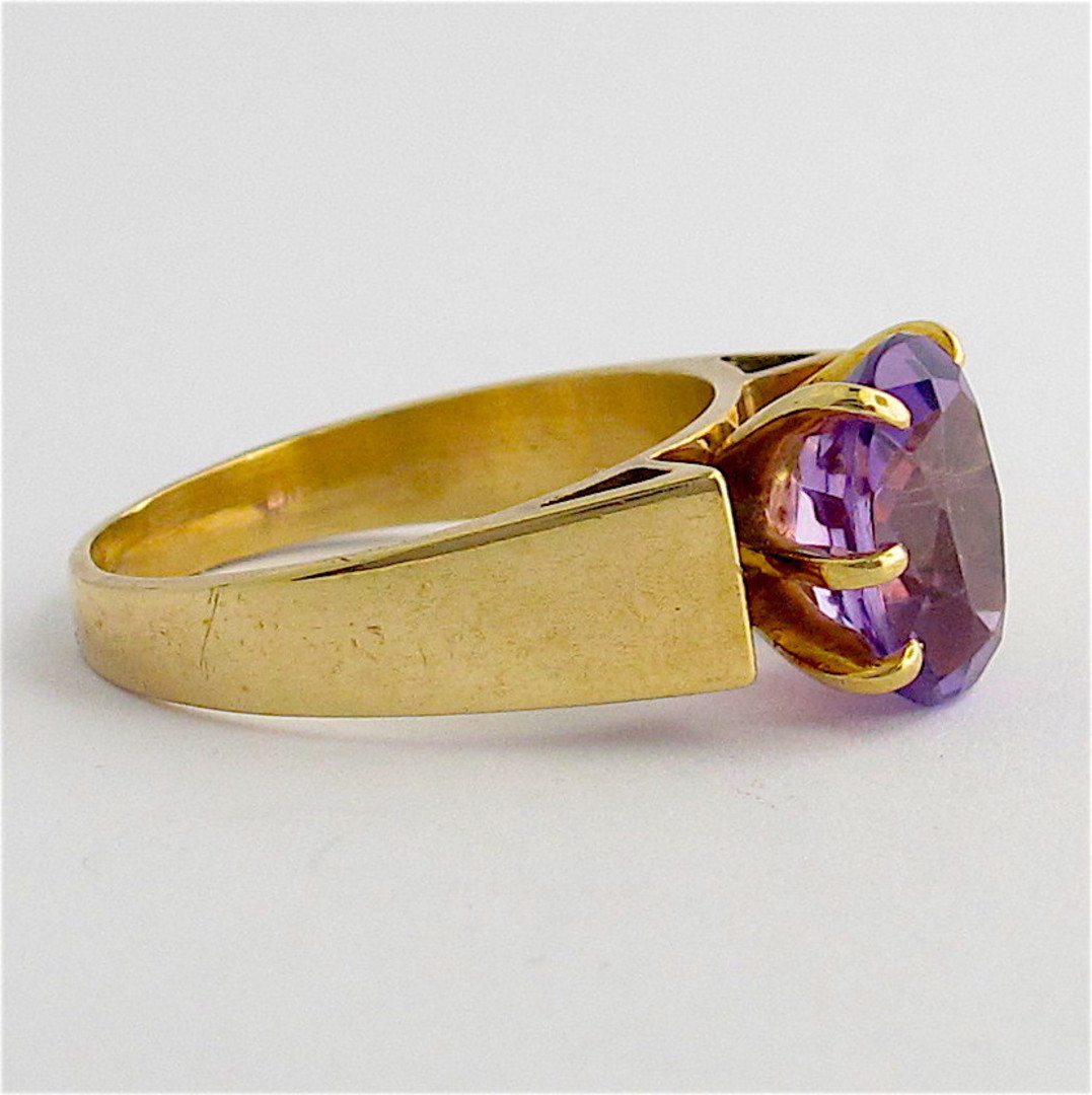 9ct yellow gold vintage amethyst ring image 1