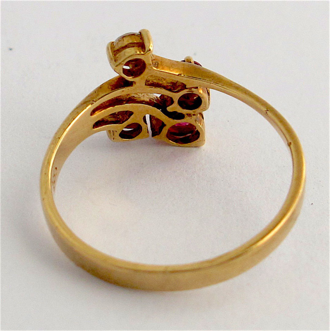 14ct yellow gold ruby and diamond ring image 2