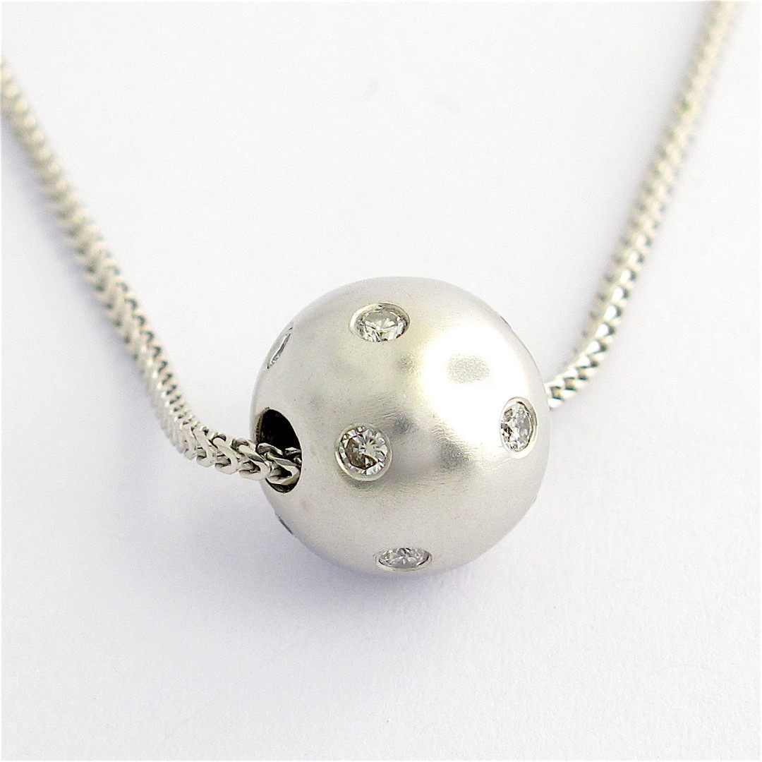 18ct white gold diamond ball pendant and chain image 1