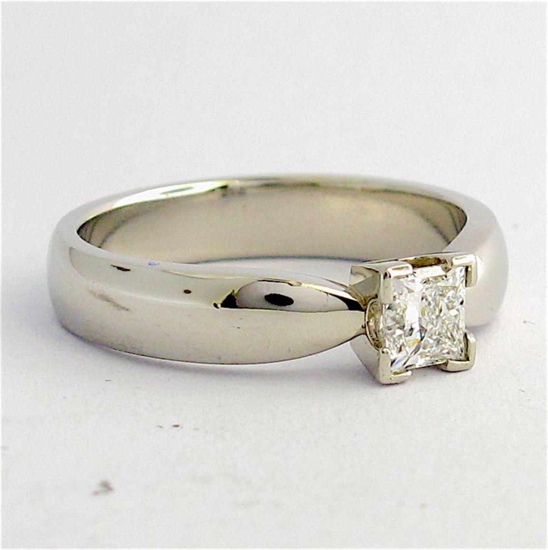 Platinum princess cut diamond solitaire ring image 1