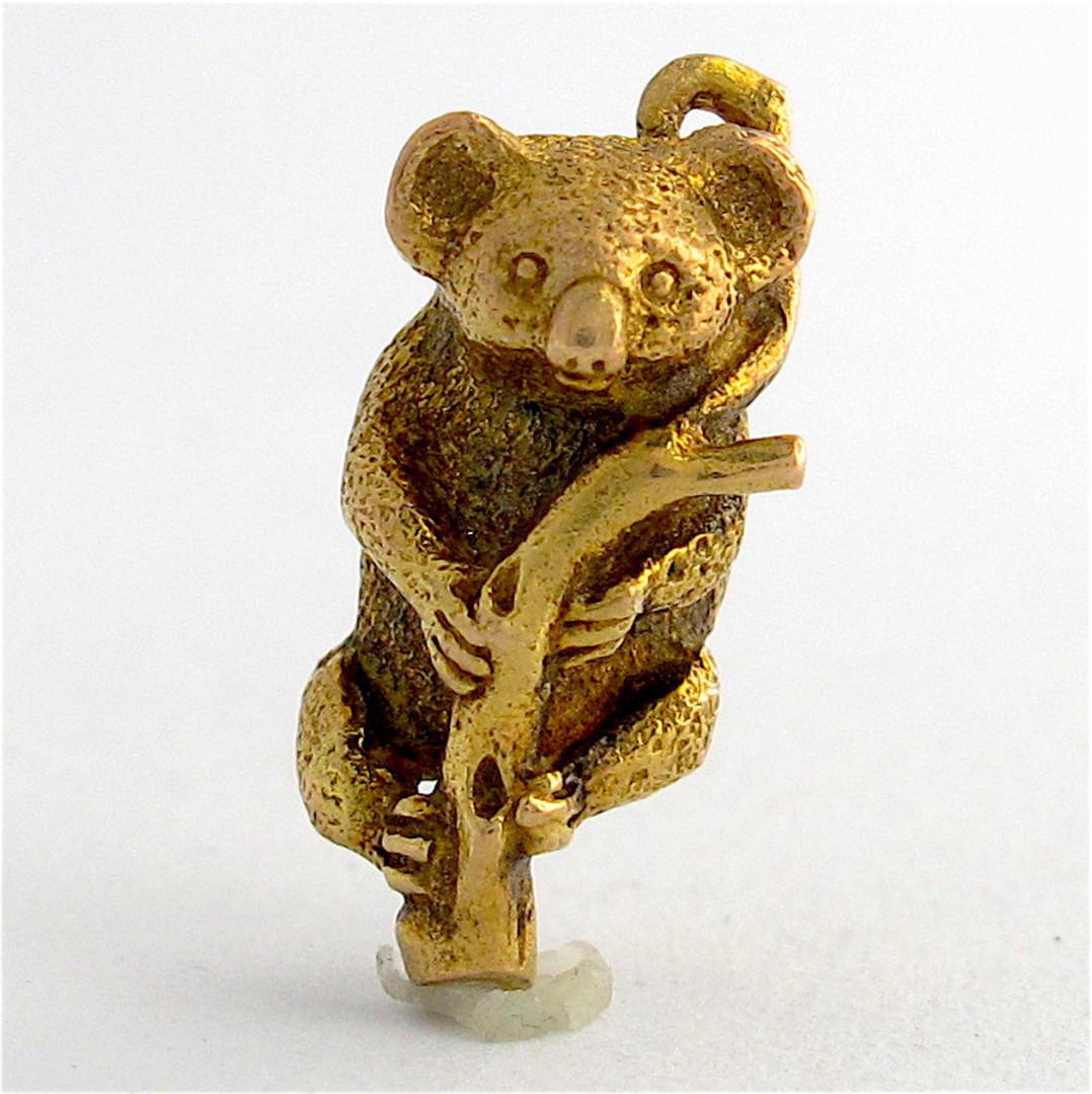 9ct yellow gold Koala on a branch charm image 0