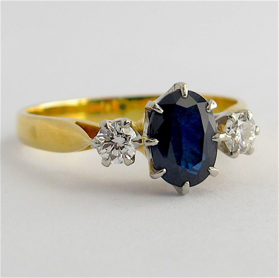 18ct yellow gold and platinum sapphire and diamond ring image 1