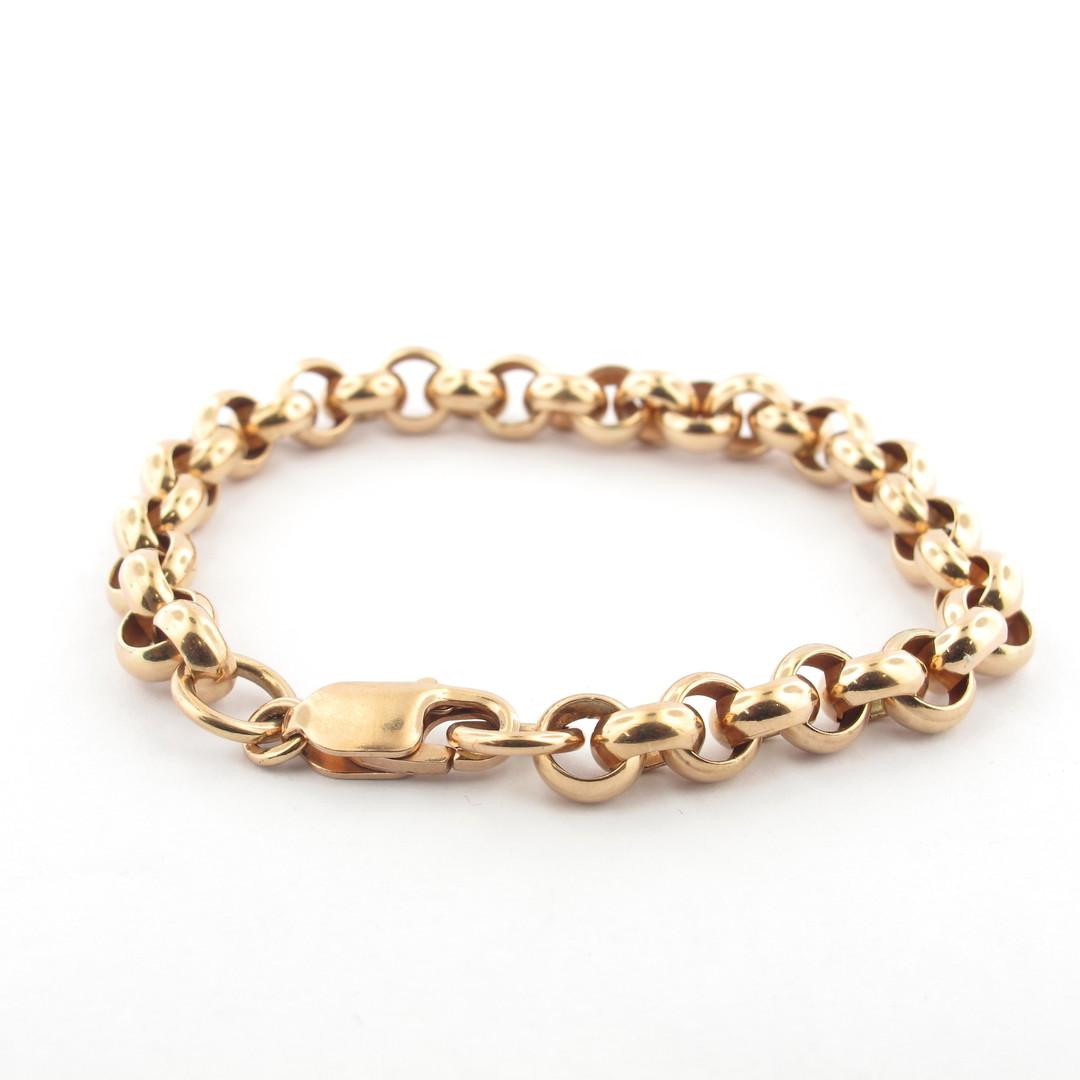 9ct rose gold round belcher link bracelet image 0