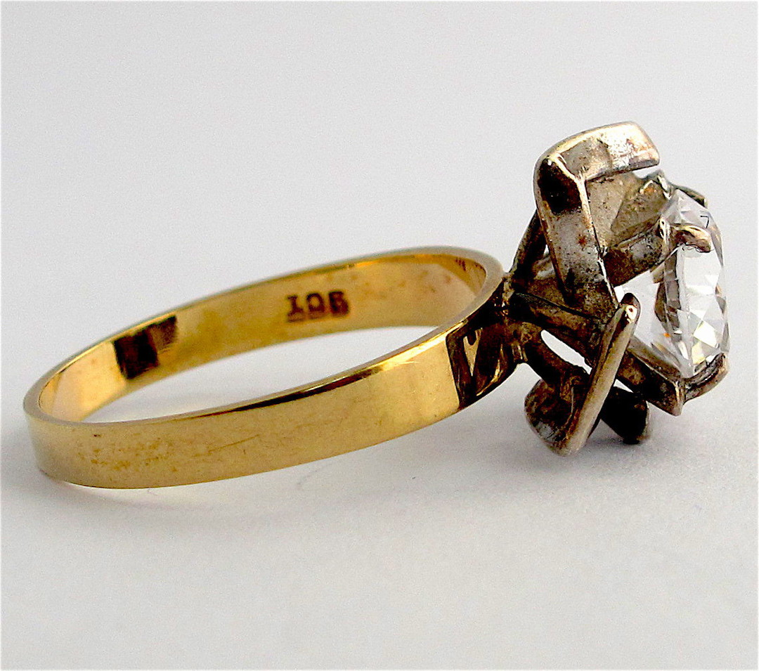 9ct yellow and sterling silver white sapphire dress ring image 1