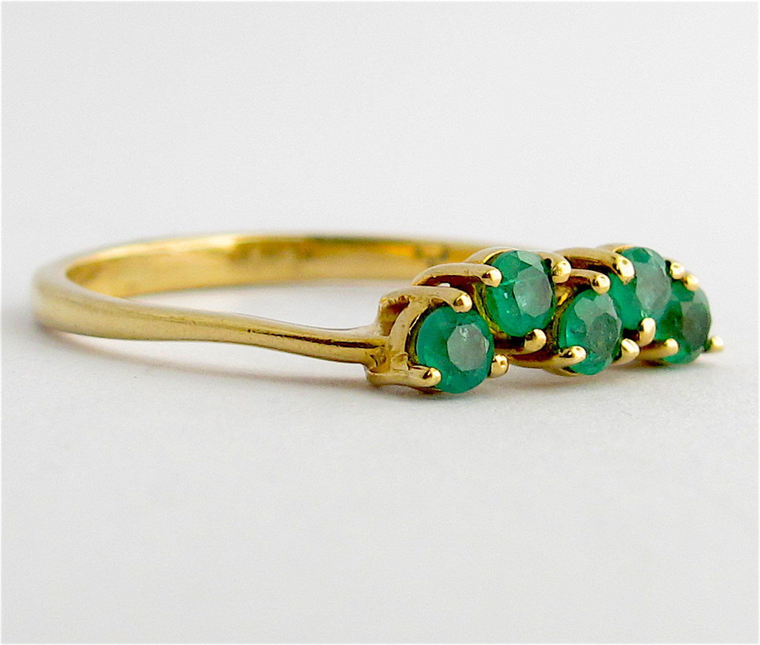 9ct yellow gold and natural emerald dress ring image 1