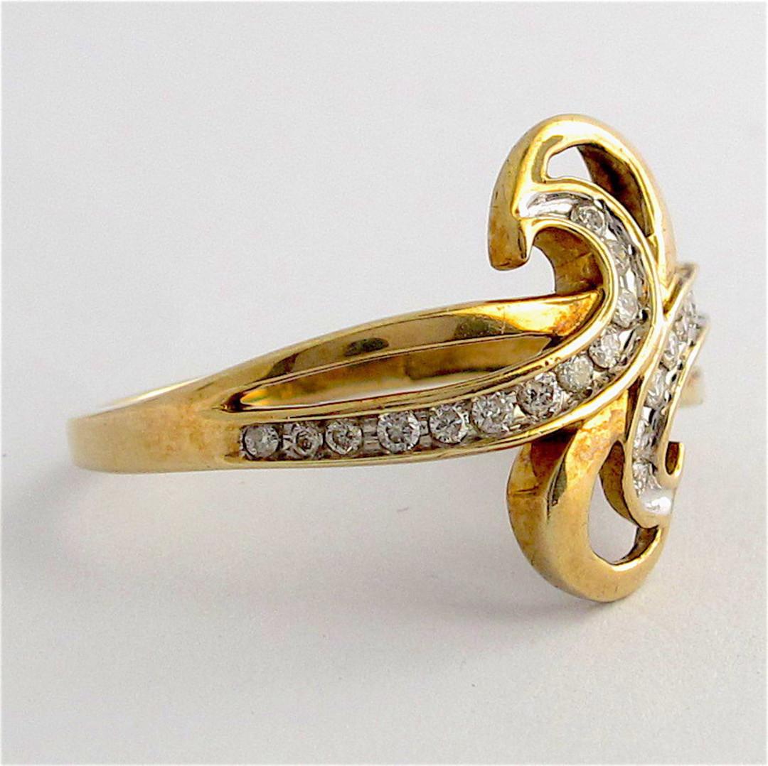9ct yellow gold diamond dress ring image 1