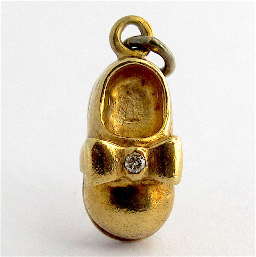 9ct yellow gold baby shoe charm image 0