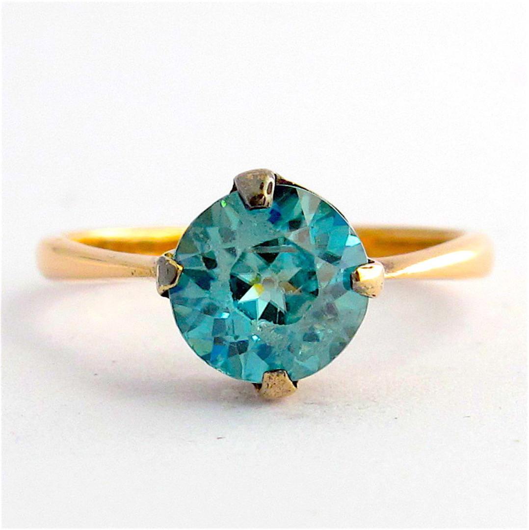 9ct rose gold blue zircon ring image 0