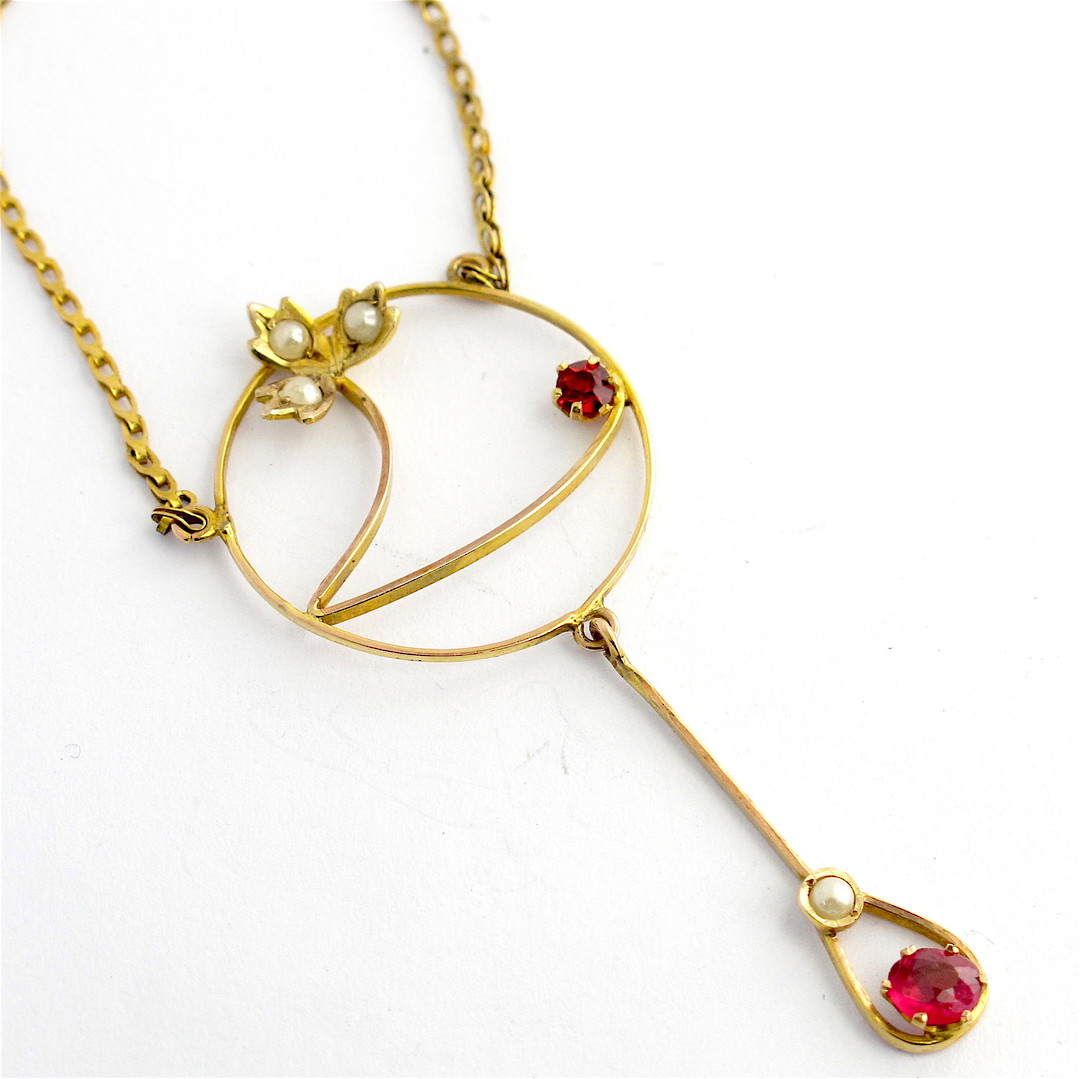 Antique 9ct yellow gold gem set necklace image 0