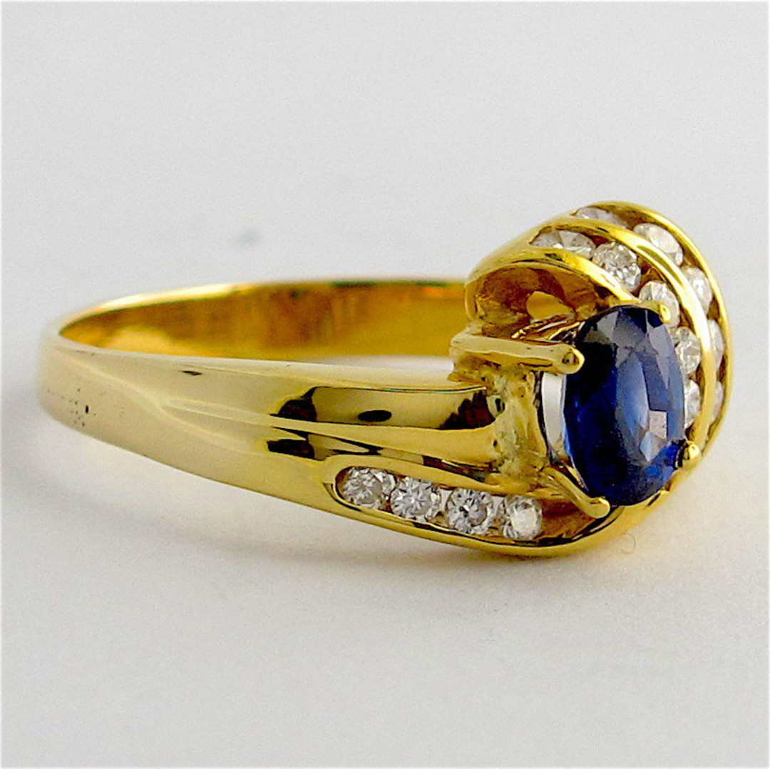 18ct yellow gold diamond and sapphire ring image 2