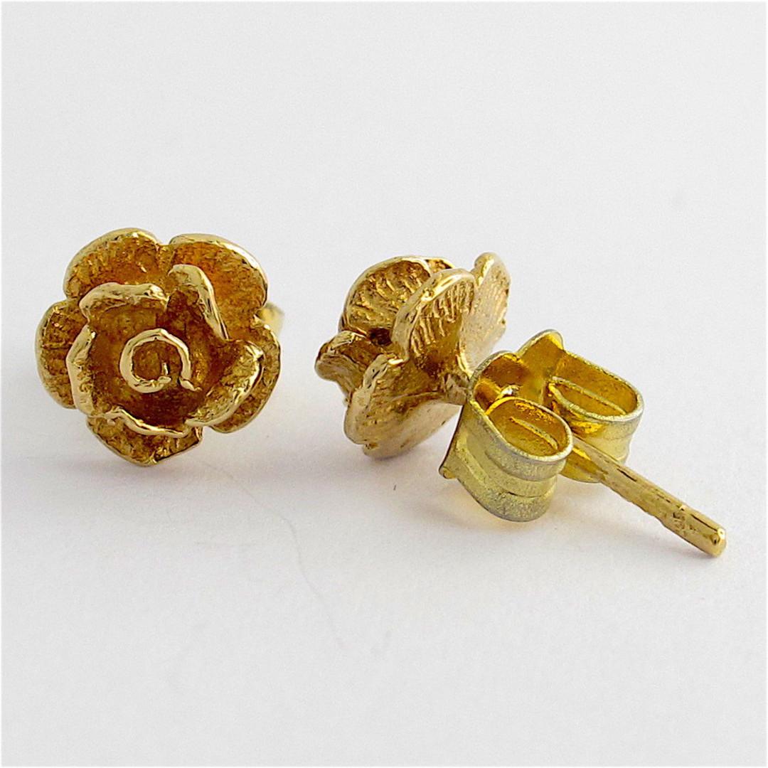 9ct yellow gold rose motif stud earrings image 1