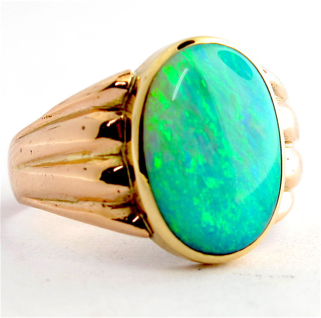 9ct rose gold solid semi-black opal ring image 1