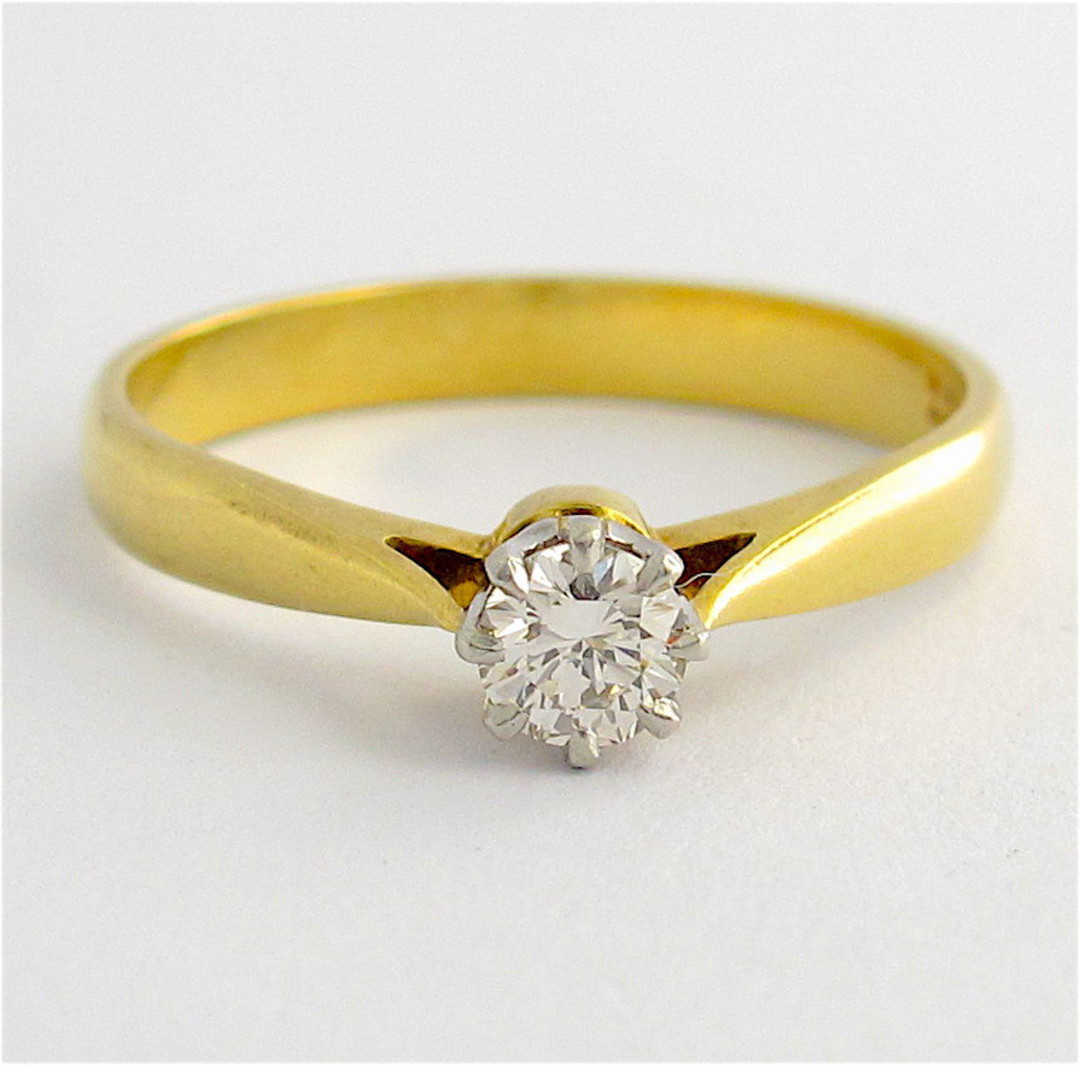18ct yellow gold and platinum diamond solitaire ring image 0