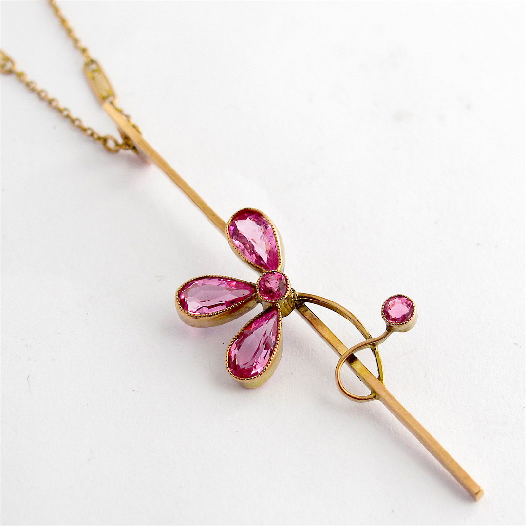 9ct rosey gold vintage pink tourmaline pendant and 9ct yellow gold chain image 0