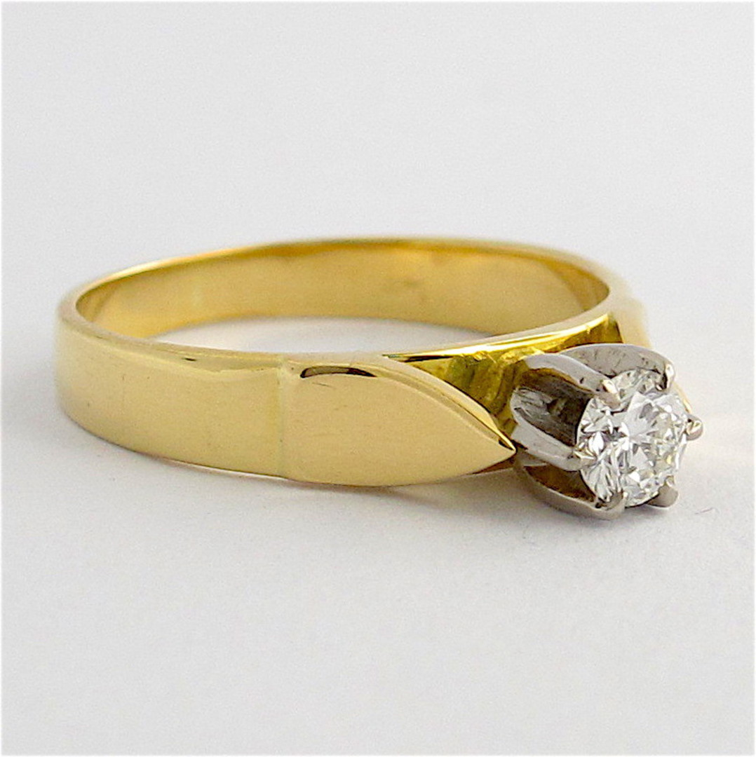 18ct yellow and white gold vintage diamond solitaire ring image 1