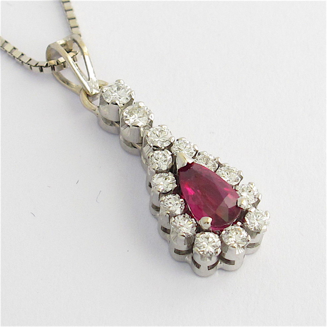 18ct white gold ruby and diamond pendant with chain image 0