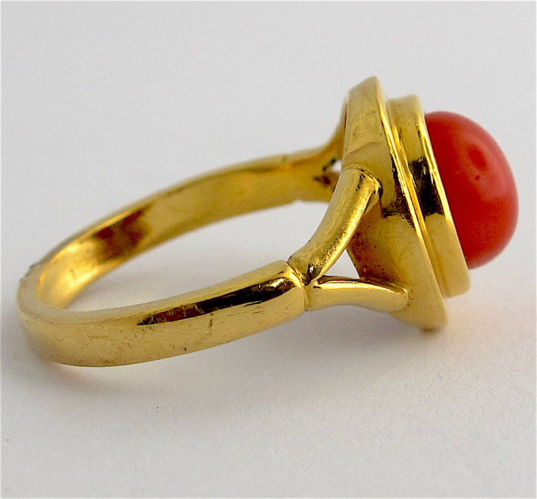 22ct yellow gold coral ring image 1