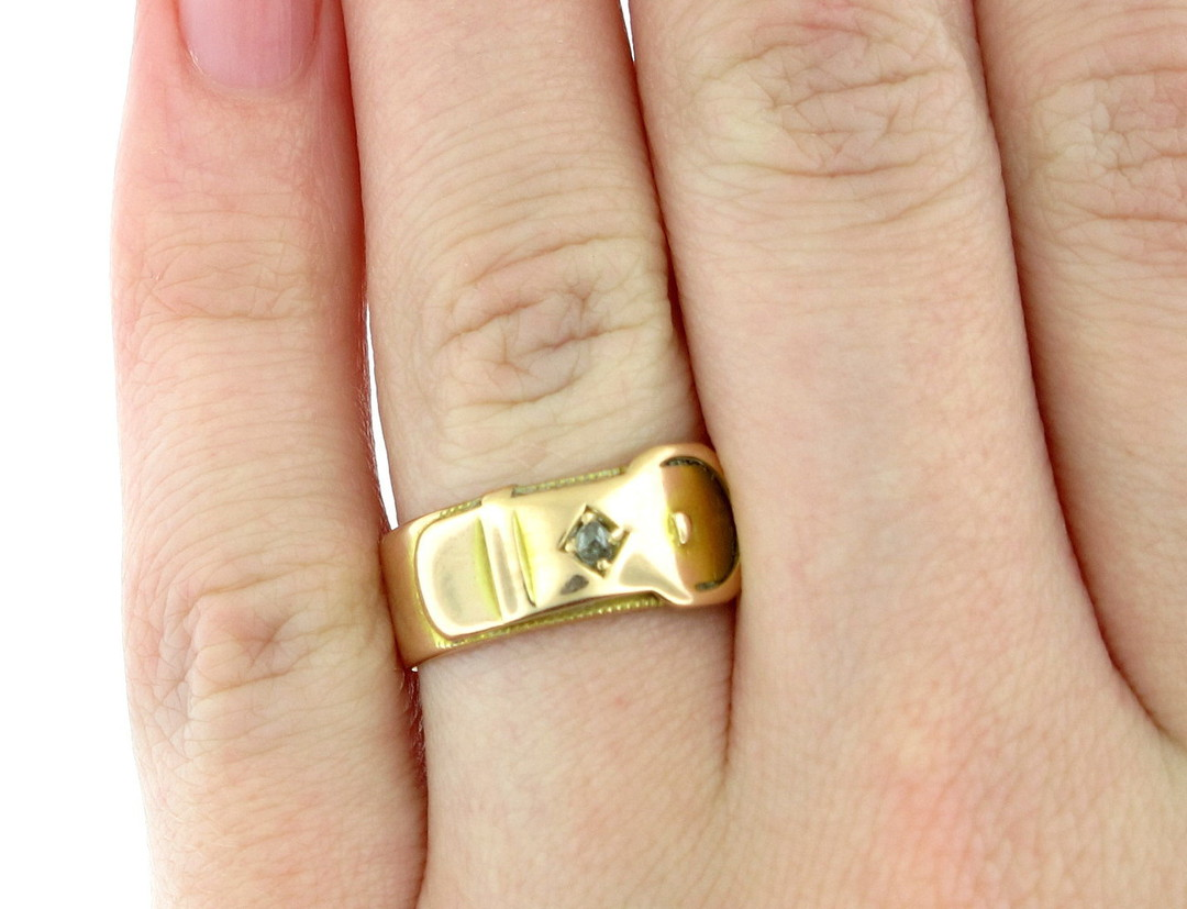 15ct rose gold buckle style diamond set ring image 1
