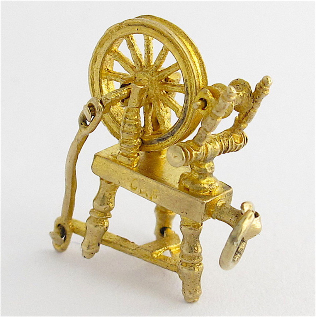 9ct yellow gold spinning wheel charm image 1