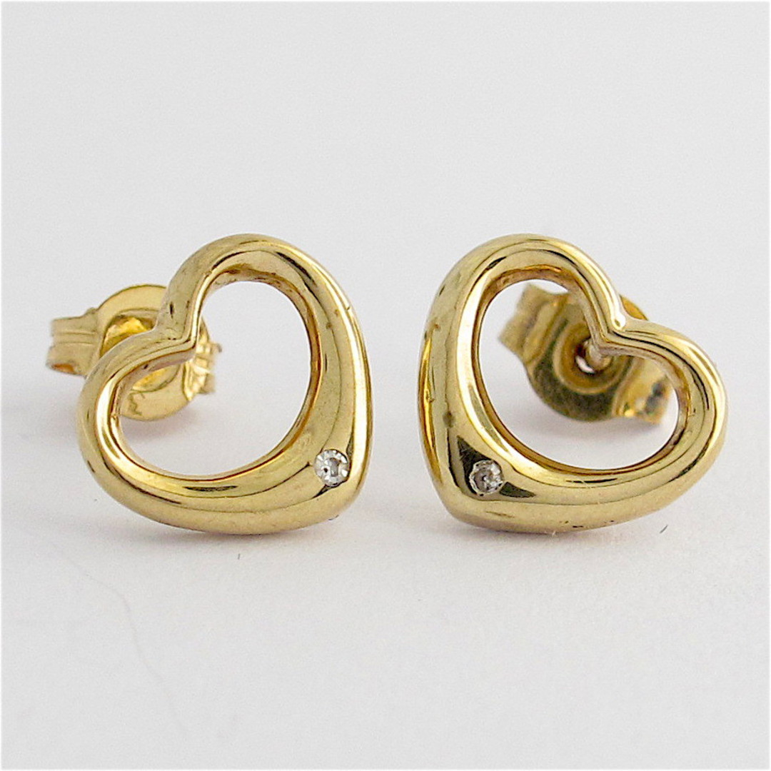 9ct yellow gold heart shape diamond stud earrings image 0
