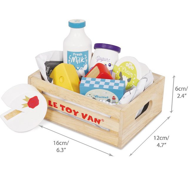 Le Toy Van Cheese & Dairy Market Crate - NEW image 1