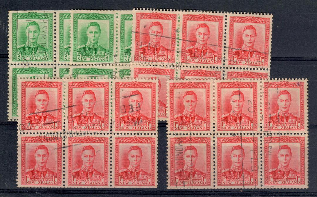 NEW ZEALAND 1938 Geo 6th Definitive Booklet panes. Two panes of the ½d Green and three panes of the 1d Red. Four of the panes ha image 0