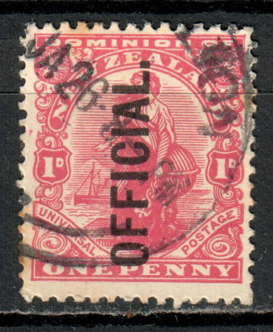 NEW ZEALAND 1909 1d Dominion Official. Litho Watermark. - 3516 - Used image 0