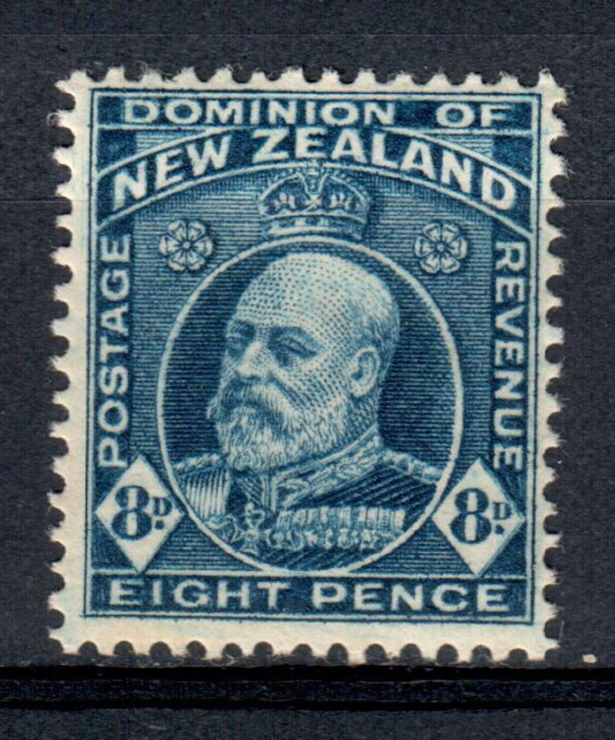 NEW ZEALAND 1909 Edward 7th Definitive 8d Blue. - 84 - UHM image 0